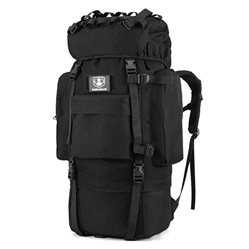 rnal Frame Backpack Tactical Military Molle Rucksack for Hunting Shooting Camping Hiking Traveling with Rain Cover Black (65l Rucksack)