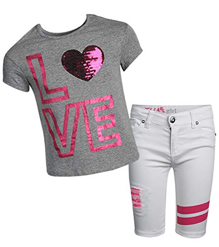 dELiA*s Girls' 2-Piece Denim Short Set with Prints and Sequins Shirts, Grey Love, Size 7/8' ()