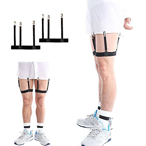 Mens Business Shirt Stays Uniform Holder Leg Thigh Elastic Garter Belt Suspender Non-slip Locking Clamps (Metal clip) by TDmall Clothing Series