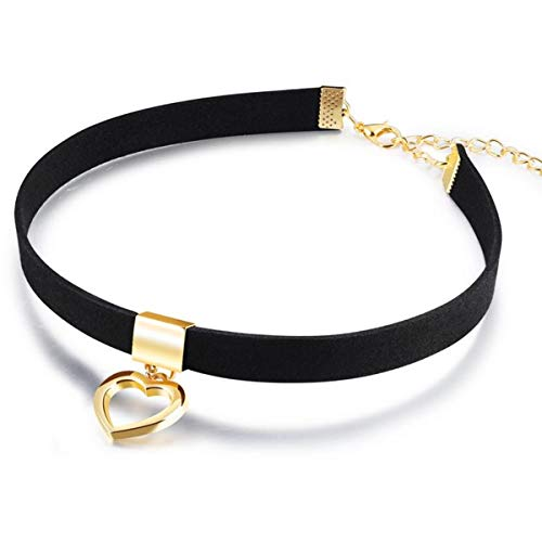 Audrey Ryan Black Choker Necklaces for Women Gothic Choker Necklaces Gold Plated Open Heart Collar Punk Goth Fans Chain Necklace Mother Daughter Sister Choker Sexy Girlfriend Wife