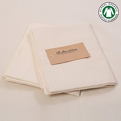 Organic pillow cases All Cotton and Linen - 100% Natural organic cotton pillow cases GOTS Certified Cotton 400 Thread Count smooth as silk Pillow Case Set Standard Pillow cases( Natural )
