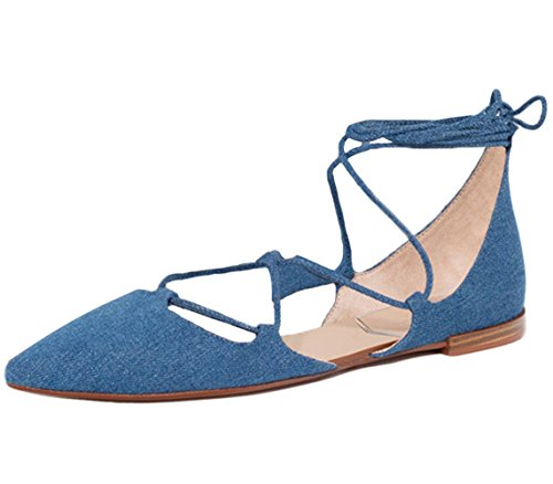 Toe Summer Lace Ballet up Shoes Sandals Pointy Women's Tie ONCEFIRST Flat Blue Leg vqnOfgInx