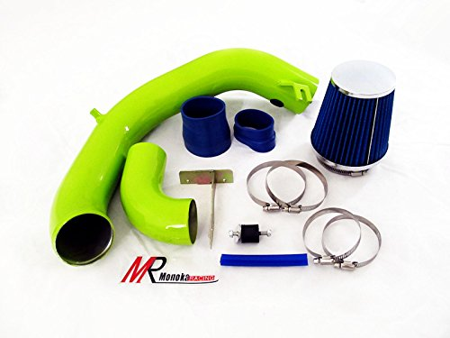 03 04 05 Dodge Neon SRT-4 2.4L Turbo GREEN Piping Cold Air Intake System Kit with Blue Filter (4 Short Ram Intake Srt)