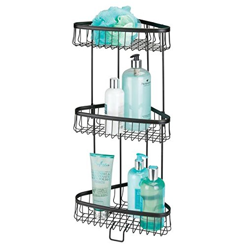 mDesign Three-Tier Freestanding Wire Bathroom Storage Shelf for Lotion, Bar Soap, Hand Towels - Matte (Freestanding Soap Lotion)