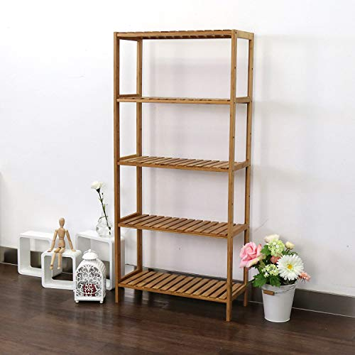 e Shelving Rack Utility Shelf Multifunctional Bamboo Rack for Bathroom Kitchen Living Room ()