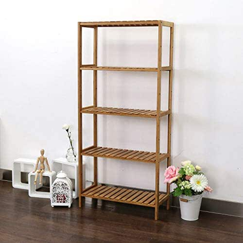 Kinbor 5-Tier Storage Shelving Rack Utility Shelf Multifunctional Bamboo Rack for Bathroom Kitchen Living Room