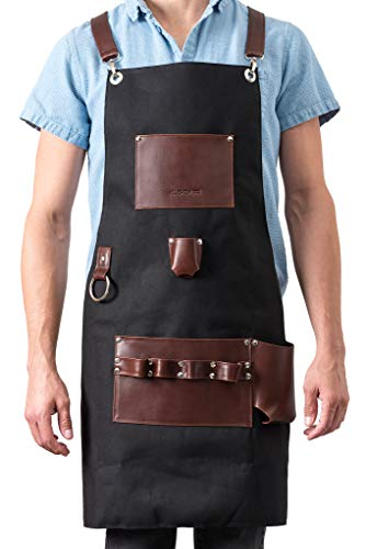 Kitchen For Pros Chef Apron – High End Aprons For Men with Genuine Leather- A must have for your Grilling Tools…
