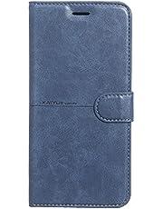 جراب جلدي قلاب من كاييو لهاتف شاومي ريدمي نوت 8 - أزرق