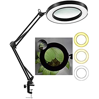 """Hokone 5X Magnifying Lamp with Clamp, Magnifier Lamp Stepless Dimming, 3 Color Modes, 4.1"""" Diameter Glass Lens, 350° Adjustable Metal Swivel Arm for for Reading/Office/Work (Black)"""