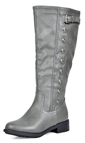 DREAM PAIRS Women's Army Grey Pu Leather Knee High Winter Ri