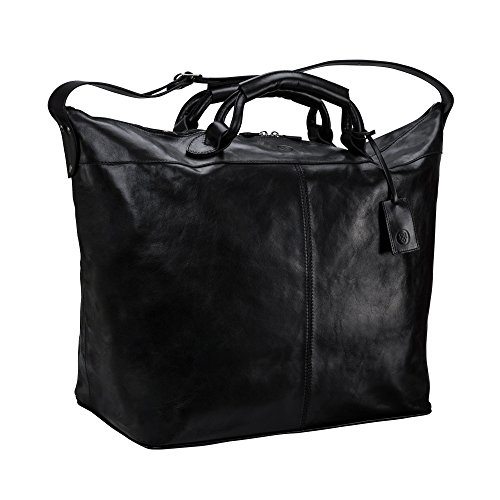 Maxwell Scott® Bolsa de viaje grande en piel Italiana café 81L (Fabrizio) Negro
