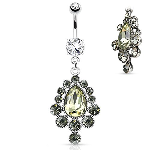 Vintage Victorian Style Cascade Pear Cut Gem Dangle Belly Button Ring 316L 14g Navel Ring