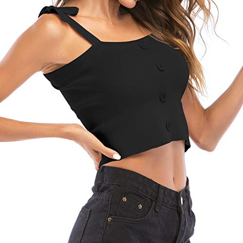 Coedfa Tank Top for Women,✿Fashion Women Off Shoulder Solid Camis Button Sleeveless Short Tops Tee
