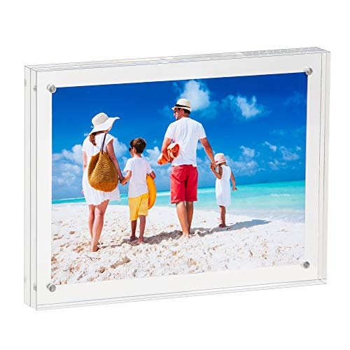 Falken Acrylics Photo Frame - 5x7 inch Magnet Photo Frame -Double Sided Thick Desktop Frames Clear Acrylic Photo Frames Frameless Desktop Display Free Standing Double Sided Magnetic Picture - Plexi Clean Acrylic