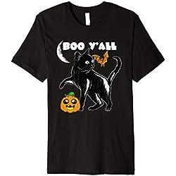 Black Cat Boo Halloween Tshirt With Pumpkin Bat Moon
