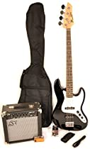 SX Ursa 2 PK RN Black Full Size Bass Guitar Package w/Amp, Carry Bag and On Line Video Instruction