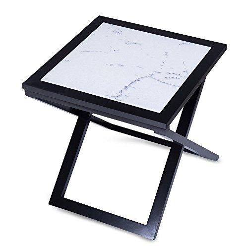 Olee Sleep Staturio Natural Marble Top Soild Wood Base X-Coffee Table/ Tea Table / End Table/ Side Table/ Solid Wood/ Office Table/ Computer Table / Vanity Table/ Dining Table/ White & (Solid Marble Base)
