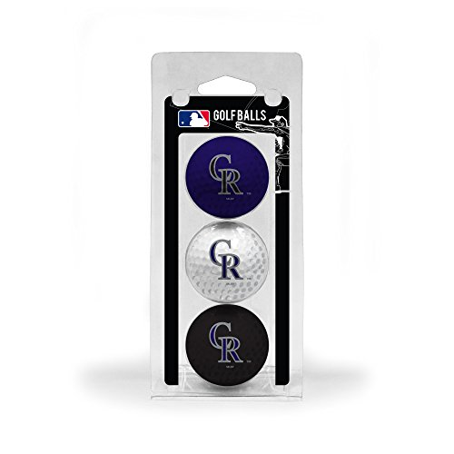 Team Golf MLB Colorado Rockies Regulation Size Golf Balls, 3 Pack, Full Color Durable Team Imprint
