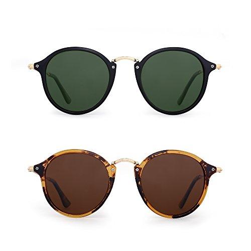 JIM HALO Retro Polarized Round Sunglasses for Women Vintage Small Mirror Glasses 2 Pack (Green & ()