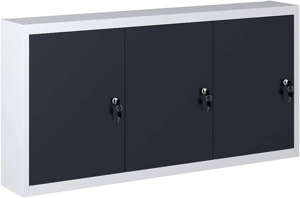 SKM Wall Mounted Tool Cabinet Industrial Style Metal Gray and Black
