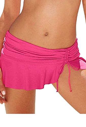 Pink Swimsuit Bottoms (Aleumdr Womens Ruched Side Tie Swim Shorts Skirted Bikini Bottom Mini Skirts Swimsuit Pantskirt Small Size Pink)