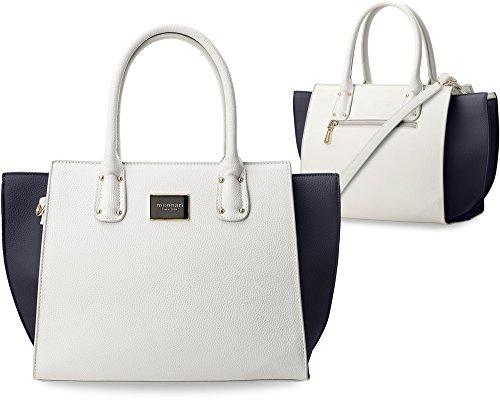 Damentasche Monnari Bowlingbag Trapez – Form weiß - blau