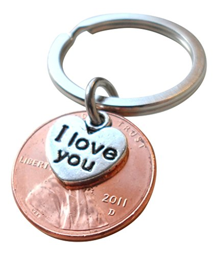 I Love You Heart Charm Layered Over 2011 US One Cent Penny Keychain, 7 Year Anniversary Gift, Birthday Gift, Couples Keychain