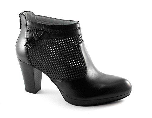 Jardines Black 17010 zapatos negros agujeros zip mujer botines de tacón Nero