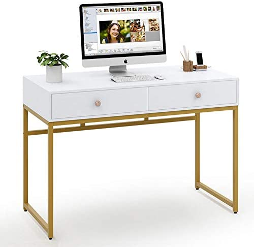 Tribesigns Computer Desk, Modern Simple 47 inch Home Office Desk Study Table Writing Desk with 2 Storage Drawers, Makeup Vanity Console Table, White and Gold