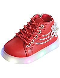 Girls Shoes, Kehen Fashion Kids Toddler Girl Flower Crystal Led Light Up Luminous Sneakers