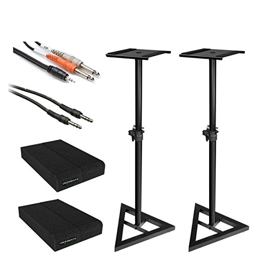 Powered Drum Monitor System (Ultimate Support JS-MS70 Studio Monitor Stands with Pair of Isolator Pads + Hosa Insert and Stereo Cables)