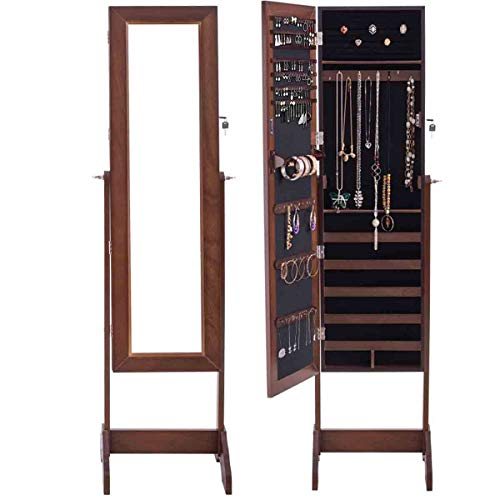 WATERJOY Mirror Jewelry Cabinet Free Standing, Classic Jewelry Armoire Storage Organizer Cabinet, 360° Rotatable, Coffee