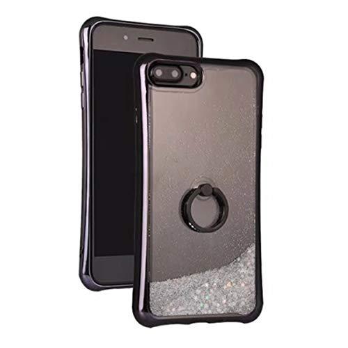 8 Case with Diamonds Ring Kickstand, i-Dawn Clear Liquid Waterfall Glitter Bling Case Air Cushion Anti Shock Flexible TPU Bumper Cover Quicksand Case for iPhone 7 8 - (Black) ()