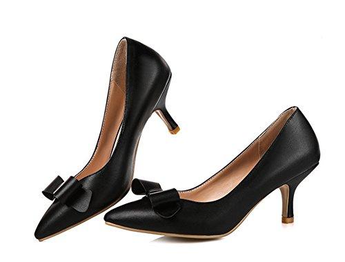 Aisun Womens Trendy Bowknot Slip On Kitten Heels Pumps Shoes Nero