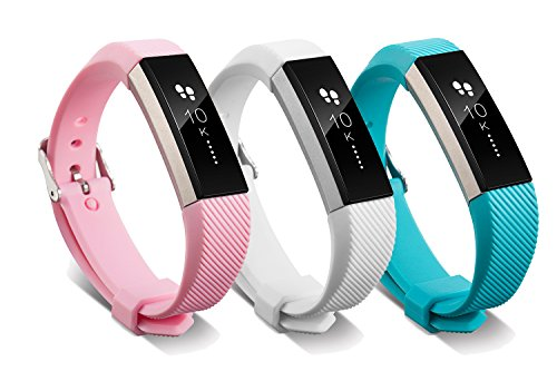 Newest Fitbit Alta HR and Alta Band with Metal Clasp and Steel Buckle, BeneStellar 3-Pack Silicone Replacement Small Large Bands Bracelet Strap for Fitbit Alta HR and Alta, Pink&White&Teal