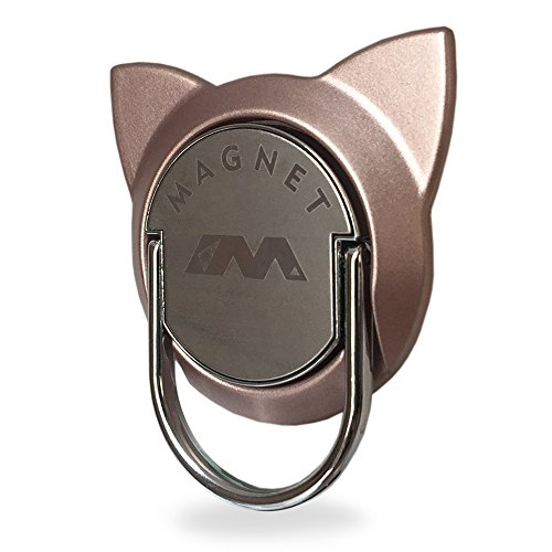 (Finger Ring for Magnetic Car Mount,Metal Cell Phone Finger Holder Stand, Pop 360 Rotation Cat Shape Grip Socket Kickstand for iPhone X 7 8 Plus 6 6S SE, Samsung Galaxy Note 8 S8 S7 Tablet (Rose Gold))