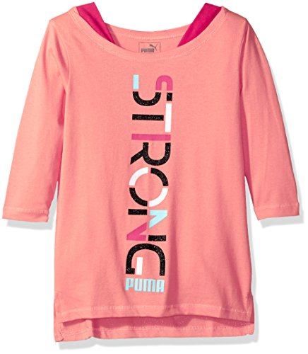 PUMA Big Girls' 3/4 Sleeve Back Scoop Top, Shell Pink, Large (12/14) 3/4 Sleeve Athletic T-shirt