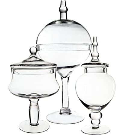 Amazon Cys Excel Candy Jar Glass Apothecary Jars Set Of 3
