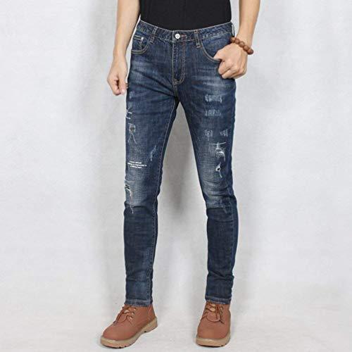 Vintage Di Uomo Fit Stile Elastico Jeans Casual Blaublack Con Da Strappato Slim Strappati Pantalone Mode Marca In wxPnZYRw