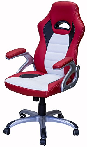 41QtJS7 LZL - ViscoLogic-Series-Gaming-Racing-Style-Swivel-Office-Chair-REDWHITE-YF-2741-RW