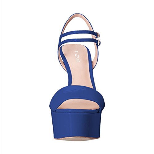 Blue Ankle Women Straps Slingback High YDN Shoes Sandals Wedge Peep Toe Pumps Platform Heel OR001qx