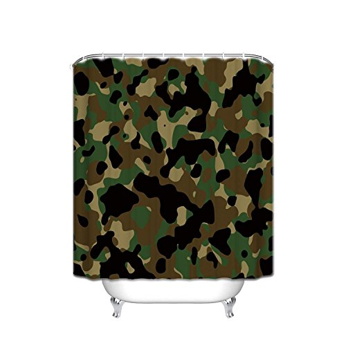 (YEHO Art Gallery Waterproof Bathroom Fabric Shower Curtain, Forests Military Army Camouflage Pattern Uniform Style Print Design 66 x 72 Inch)