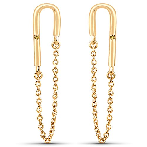LoveHuang 0.01 Carats Genuine Yellow Diamond (I-J, I2-I3) Dangling Chain Earrings Solid .925 Sterling Silver With 18KT Yellow Gold ()