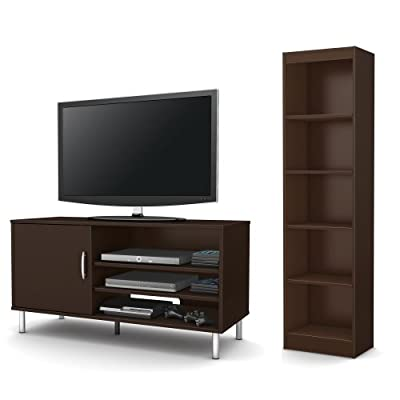 South Shore Renta 2-Piece Living Room Set, Includes TV Stand and 5-Shelf Bookcase, Chocolate