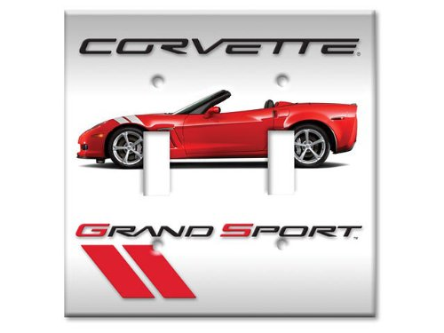 (Corvette Switchplate Red Grand Sport Convertible Double Light Switch)