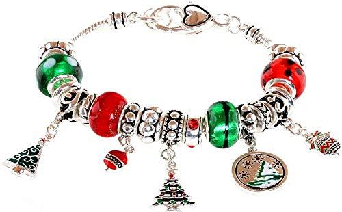 Lova Jewelry Christmas Tree Murano Glass Beaded Charm Bracelet -