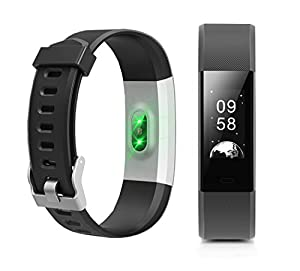 Fitness Tracker NewYouDirect Heart Rate Monitor Pedometer Activity Tracker Smart Watch Smart WristBand with Sleep Monitor Calorie/Step Counter Bluetooth 4.0 for Android IOS (Black)
