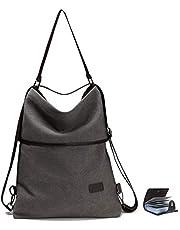 URAQT Canvas Tasche Damen Rucksack Handtasche Damen Umhängentasche Schultertasche Tasche für Alltag Büro Schule Ausflug Einkauf