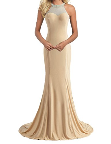 H.S.D Women's Mermaid Halter Beaded Long Prom Dress Evening Gowns Champagne