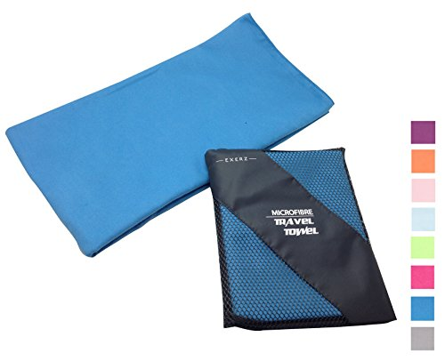 Exerz Microfiber Extra Large XL Travel / Sports Towel - Gym - Camping - Swimming - Highly Absorbent Compact Lightweight Antibacterial Quick Dry - Blue